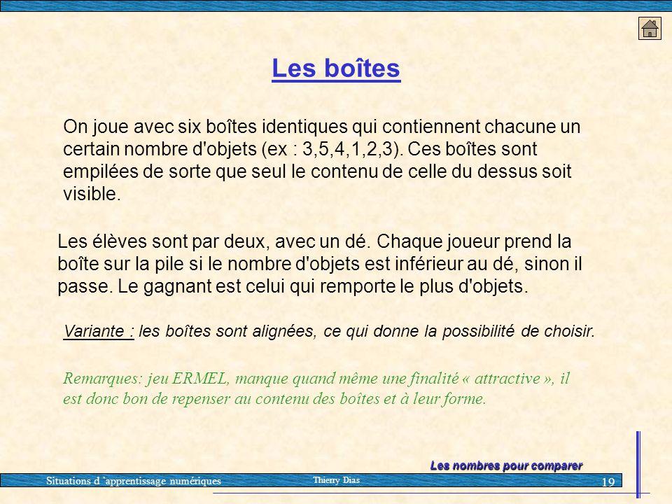 Situations d 'apprentissage numériques Thierry Dias 19 Les boîtes On joue avec six boîtes identiques qui contiennent chacune un certain nombre d'objet