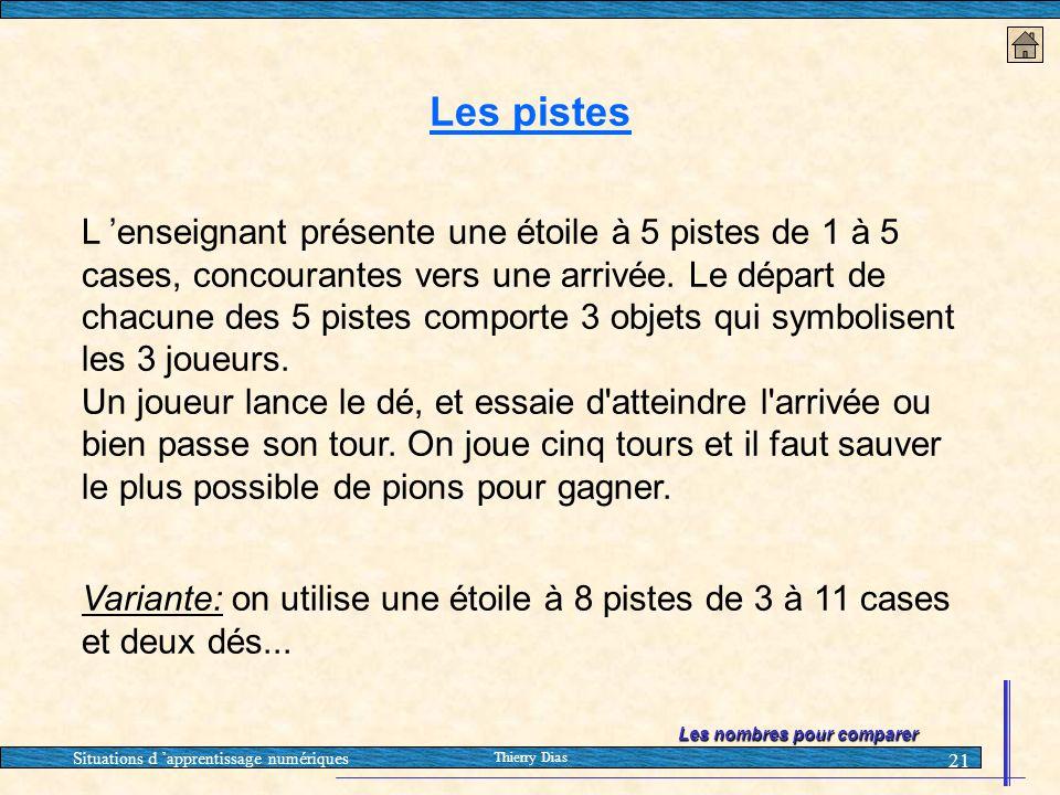 Situations d 'apprentissage numériques Thierry Dias 21 Les pistes L 'enseignant présente une étoile à 5 pistes de 1 à 5 cases, concourantes vers une a