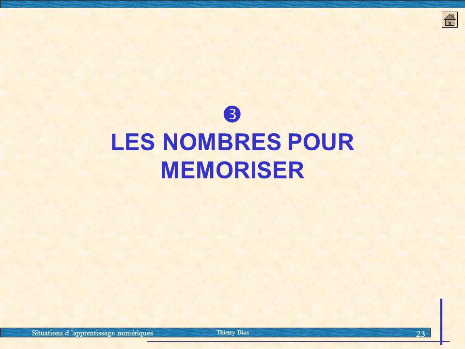 Situations d 'apprentissage numériques Thierry Dias 23  LES NOMBRES POUR MEMORISER