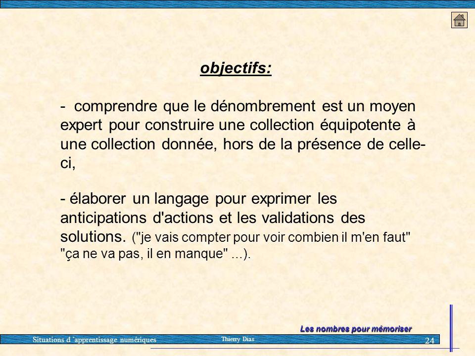 Situations d 'apprentissage numériques Thierry Dias 24 objectifs: - comprendre que le dénombrement est un moyen expert pour construire une collection