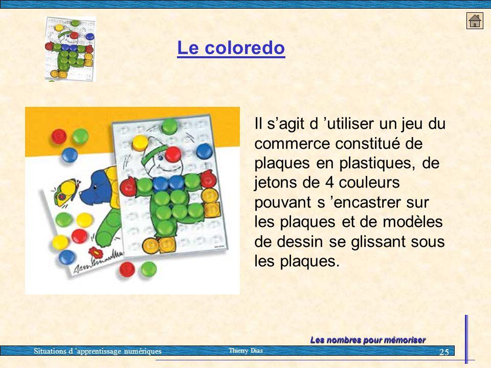 Situations d 'apprentissage numériques Thierry Dias 25 Le coloredo Il s'agit d 'utiliser un jeu du commerce constitué de plaques en plastiques, de jet