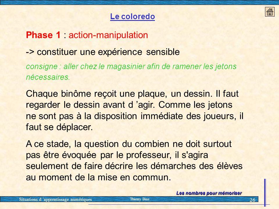 Situations d 'apprentissage numériques Thierry Dias 26 Les nombres pour mémoriser Le coloredo Phase 1 : action-manipulation -> constituer une expérien