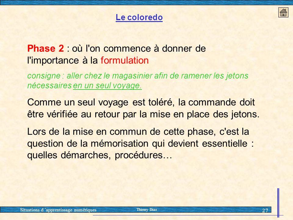 Situations d 'apprentissage numériques Thierry Dias 27 Phase 2 : où l'on commence à donner de l'importance à la formulation consigne : aller chez le m