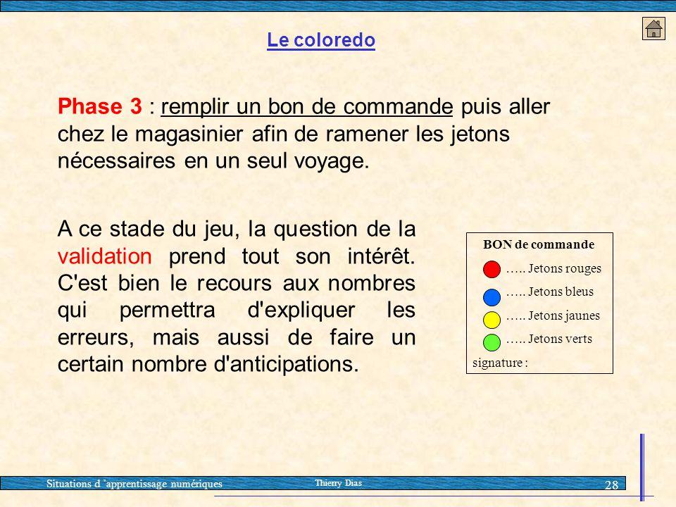 Situations d 'apprentissage numériques Thierry Dias 28 Phase 3 : remplir un bon de commande puis aller chez le magasinier afin de ramener les jetons n