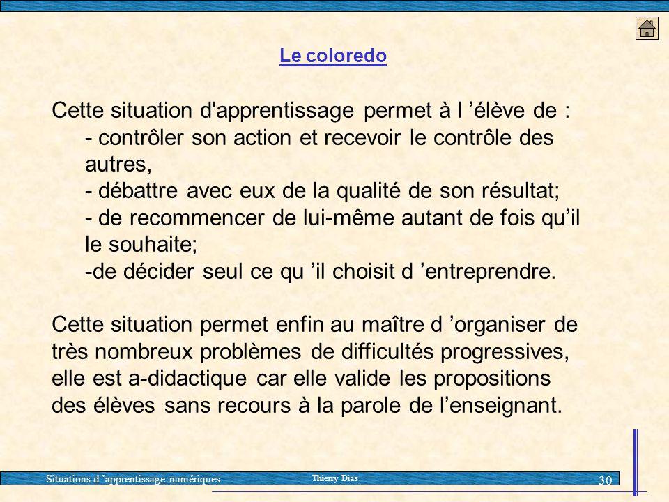 Situations d 'apprentissage numériques Thierry Dias 30 Cette situation d'apprentissage permet à l 'élève de : - contrôler son action et recevoir le co
