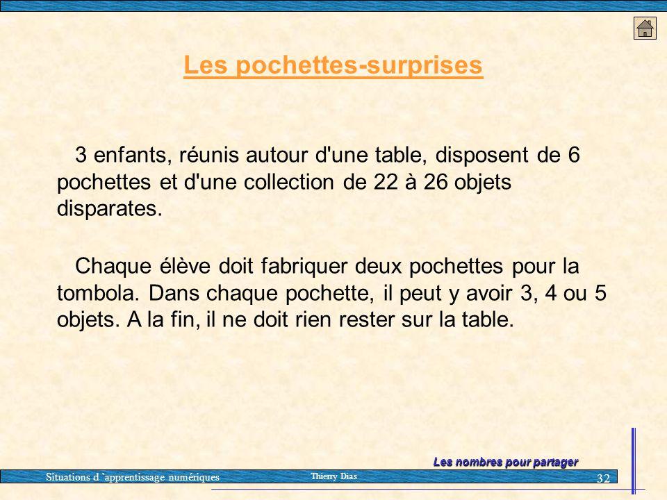 Situations d 'apprentissage numériques Thierry Dias 32 Les pochettes-surprises 3 enfants, réunis autour d'une table, disposent de 6 pochettes et d'une