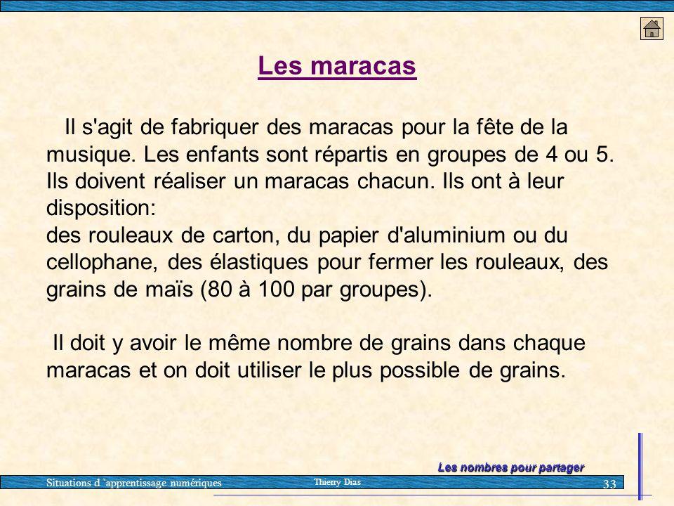 Situations d 'apprentissage numériques Thierry Dias 33 Les maracas Il s'agit de fabriquer des maracas pour la fête de la musique. Les enfants sont rép