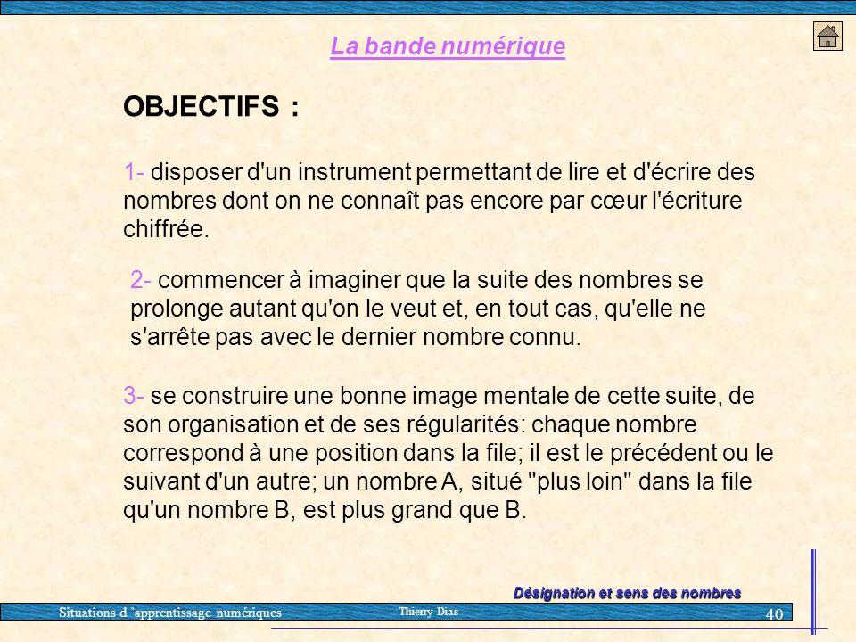 Situations d 'apprentissage numériques Thierry Dias 40 La bande numérique OBJECTIFS : 1- disposer d'un instrument permettant de lire et d'écrire des n