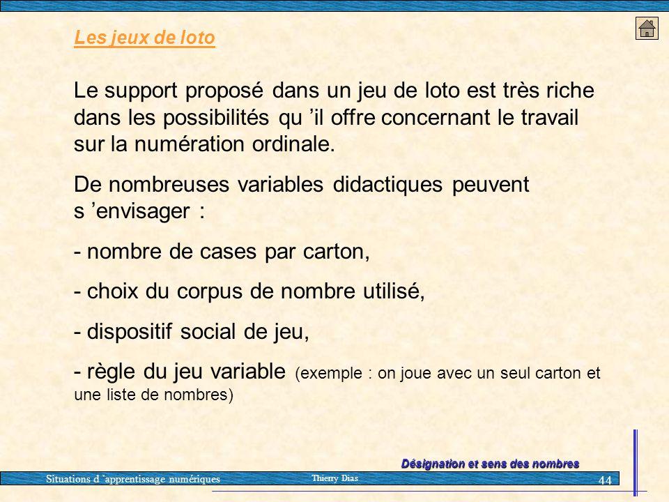 Situations d 'apprentissage numériques Thierry Dias 44 Les jeux de loto Le support proposé dans un jeu de loto est très riche dans les possibilités qu