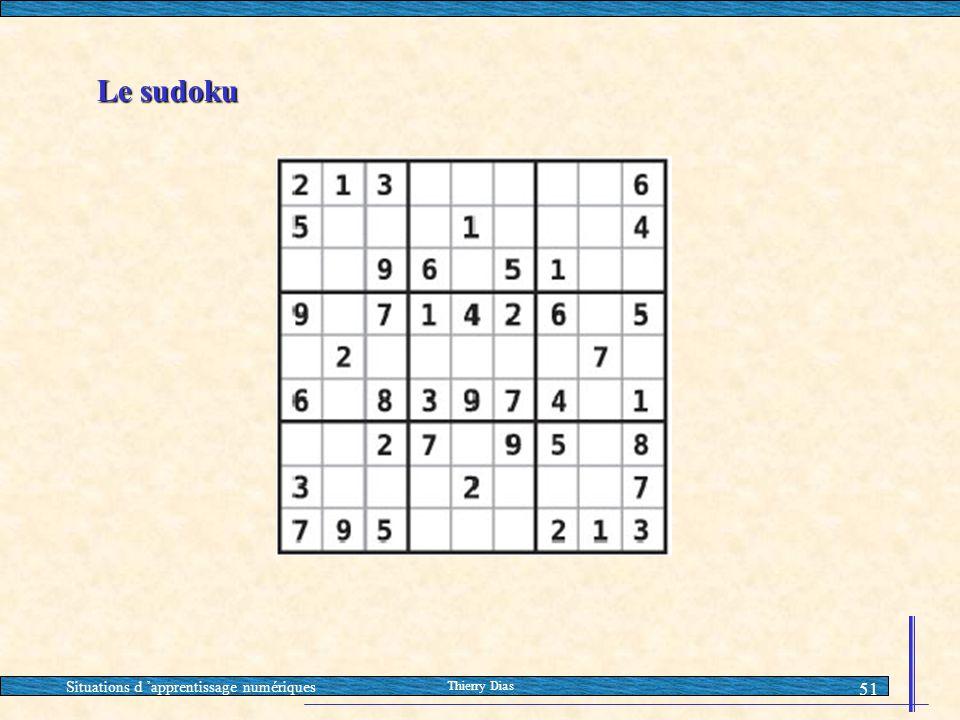 Situations d 'apprentissage numériques Thierry Dias 51 Le sudoku