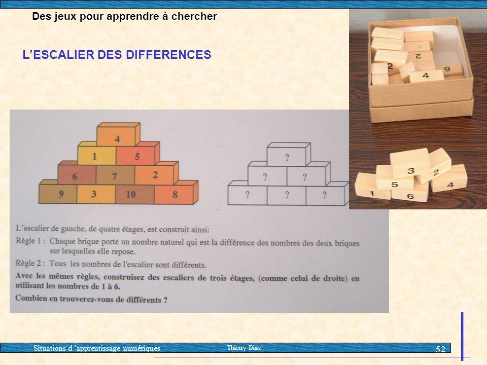 Situations d 'apprentissage numériques Thierry Dias 52 L'ESCALIER DES DIFFERENCES Des jeux pour apprendre à chercher