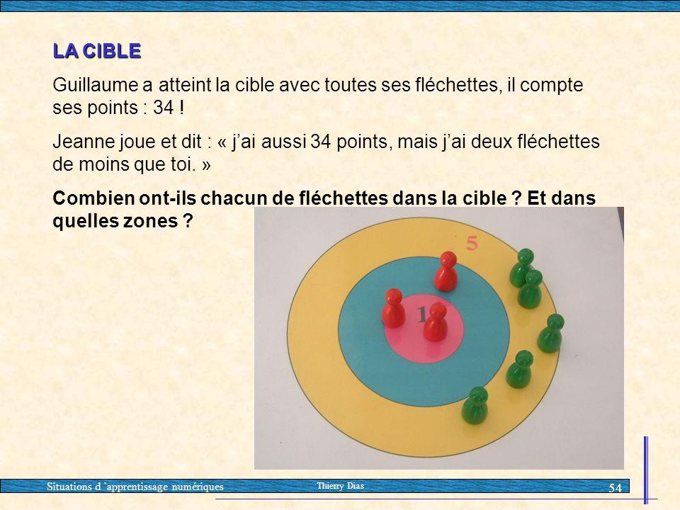 Situations d 'apprentissage numériques Thierry Dias 54 LA CIBLE Guillaume a atteint la cible avec toutes ses fléchettes, il compte ses points : 34 ! J