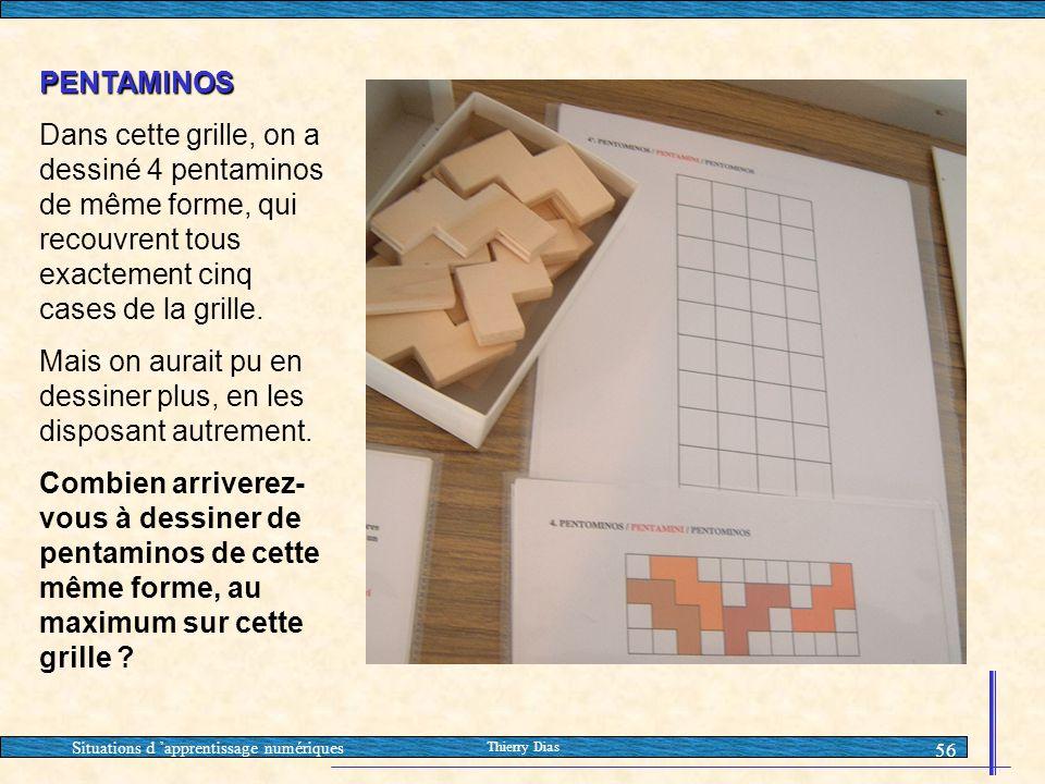 Situations d 'apprentissage numériques Thierry Dias 56 PENTAMINOS Dans cette grille, on a dessiné 4 pentaminos de même forme, qui recouvrent tous exac