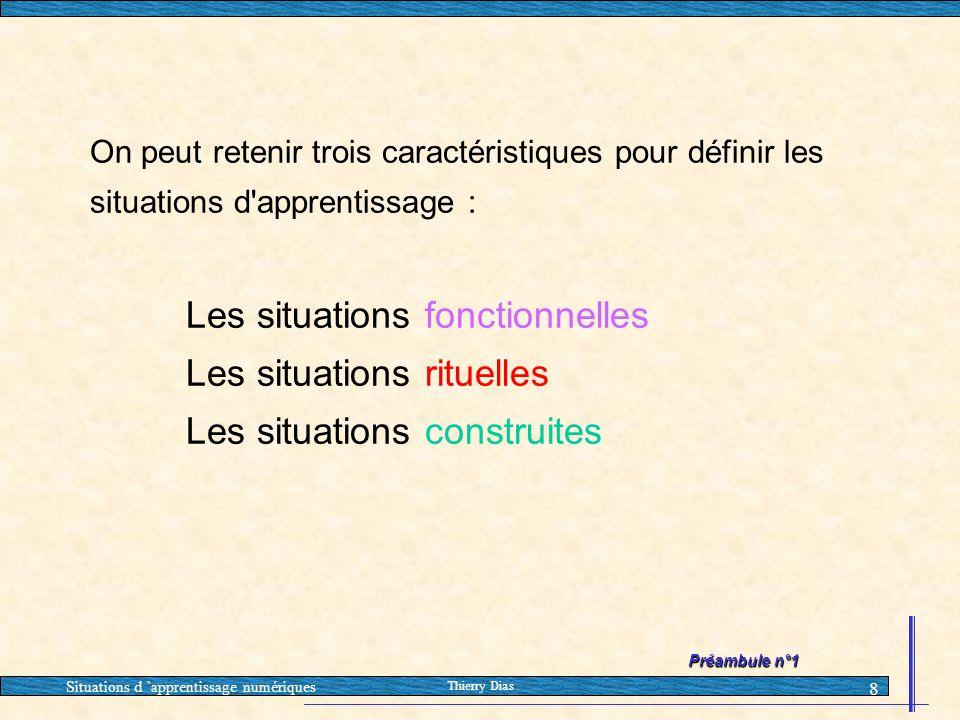 Situations d 'apprentissage numériques Thierry Dias 8 On peut retenir trois caractéristiques pour définir les situations d'apprentissage : Les situati