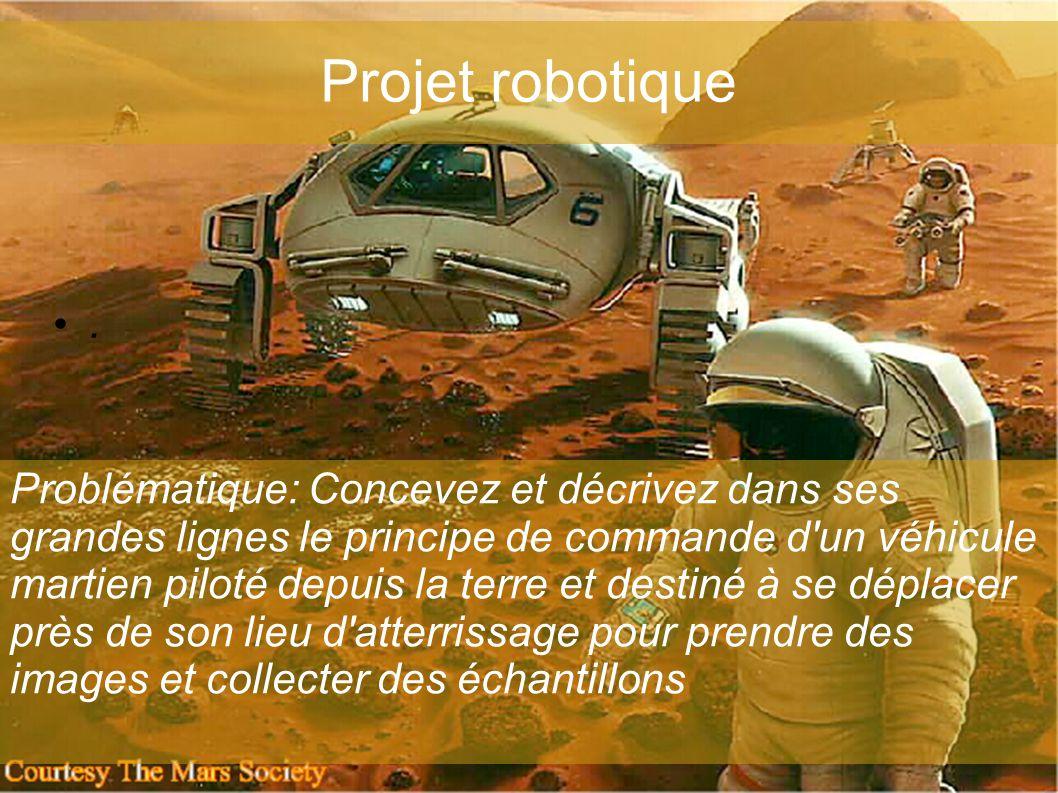 Projet robotique •.•. Problématique: Concevez et décrivez dans ses grandes lignes le principe de commande d'un véhicule martien piloté depuis la terre