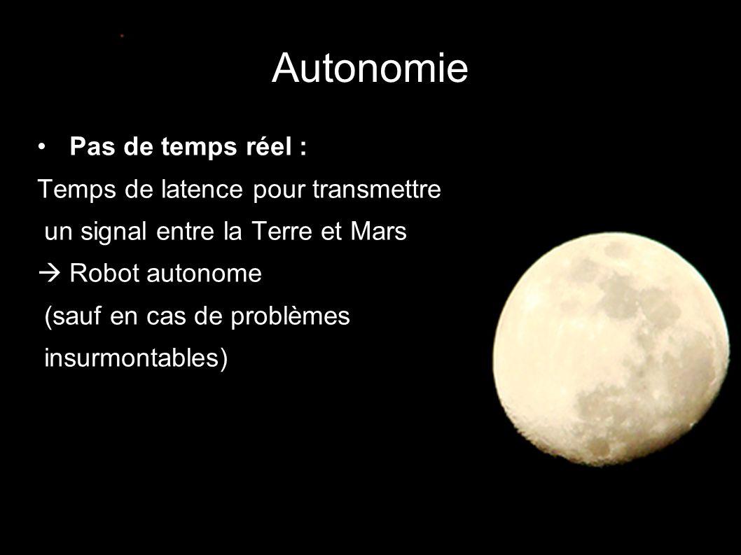 Autonomie • Pas de temps réel : Temps de latence pour transmettre un signal entre la Terre et Mars  Robot autonome (sauf en cas de problèmes insurmon