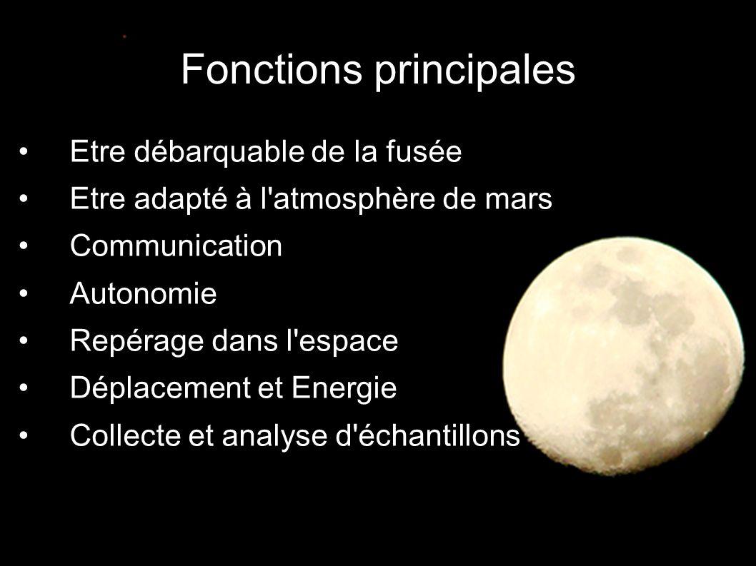 Fonctions principales •Etre débarquable de la fusée •Etre adapté à l atmosphère de mars •Communication •Autonomie •Repérage dans l espace •Déplacement et Energie •Collecte et analyse d échantillons