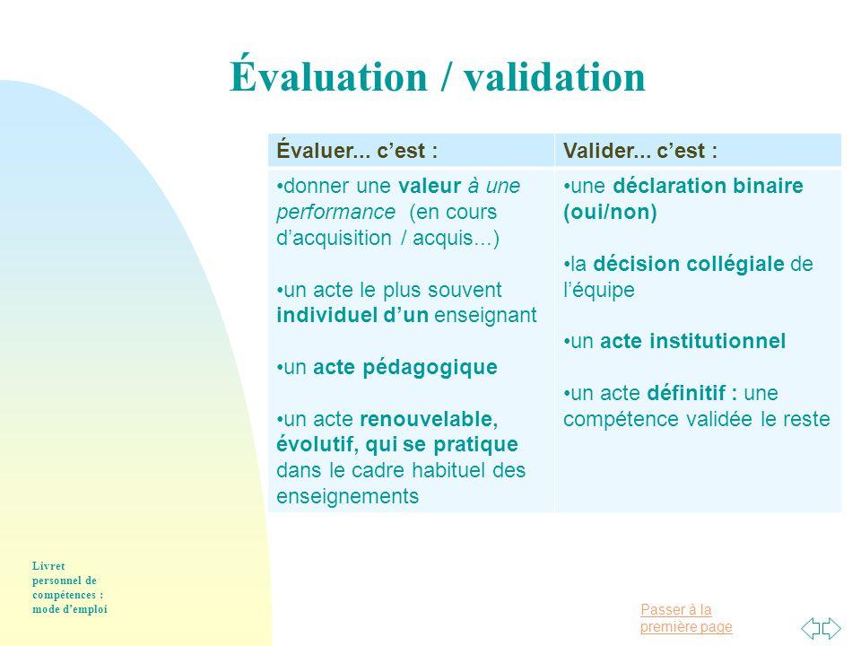 Passer à la première page Livret personnel de compétences : mode d'emploi Évaluer...