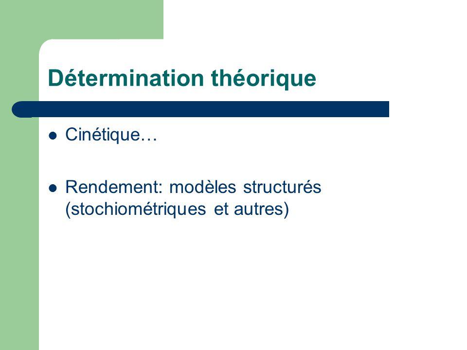 Détermination théorique  Cinétique…  Rendement: modèles structurés (stochiométriques et autres)