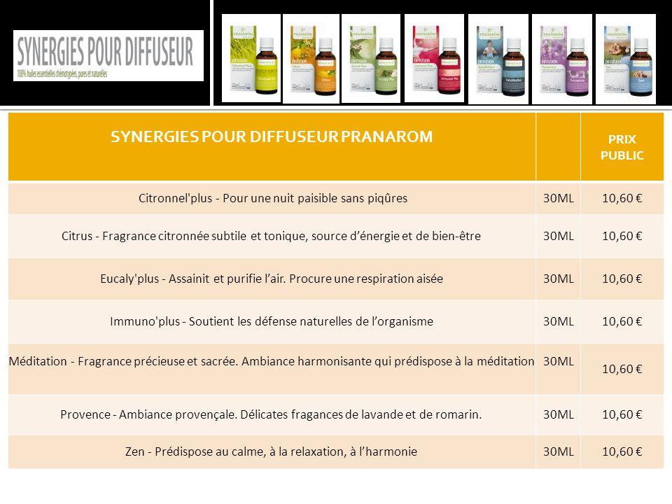 SYNERGIES POUR DIFFUSEUR PRANAROM PRIX PUBLIC Citronnel'plus - Pour une nuit paisible sans piqûres30ML10,60 € Citrus - Fragrance citronnée subtile et