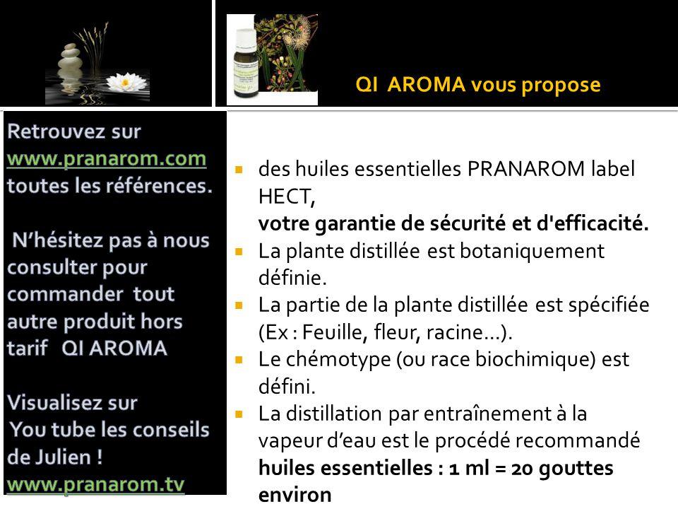 QI AROMA vous propose  des huiles essentielles PRANAROM label HECT, votre garantie de sécurité et d'efficacité.  La plante distillée est botaniqueme