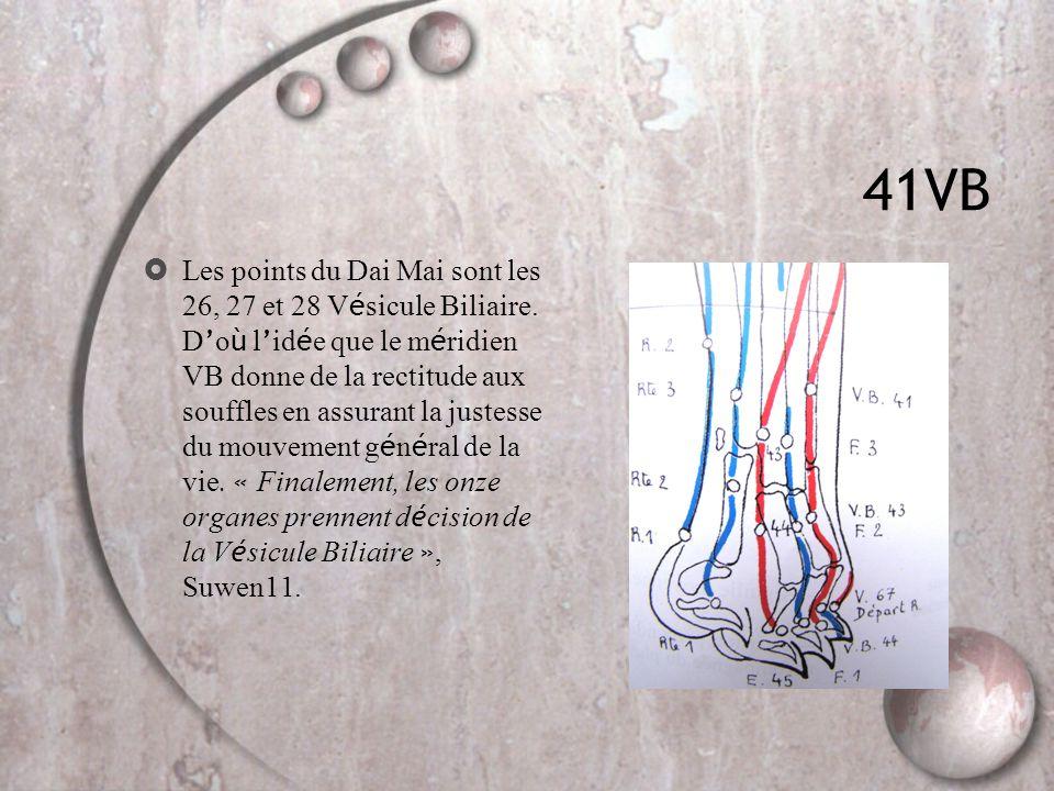 41VB  Les points du Dai Mai sont les 26, 27 et 28 V é sicule Biliaire. D ' o ù l ' id é e que le m é ridien VB donne de la rectitude aux souffles en