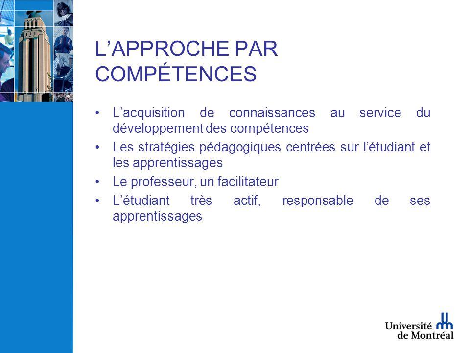 L'APPROCHE PAR COMPÉTENCES •L'acquisition de connaissances au service du développement des compétences •Les stratégies pédagogiques centrées sur l'étu
