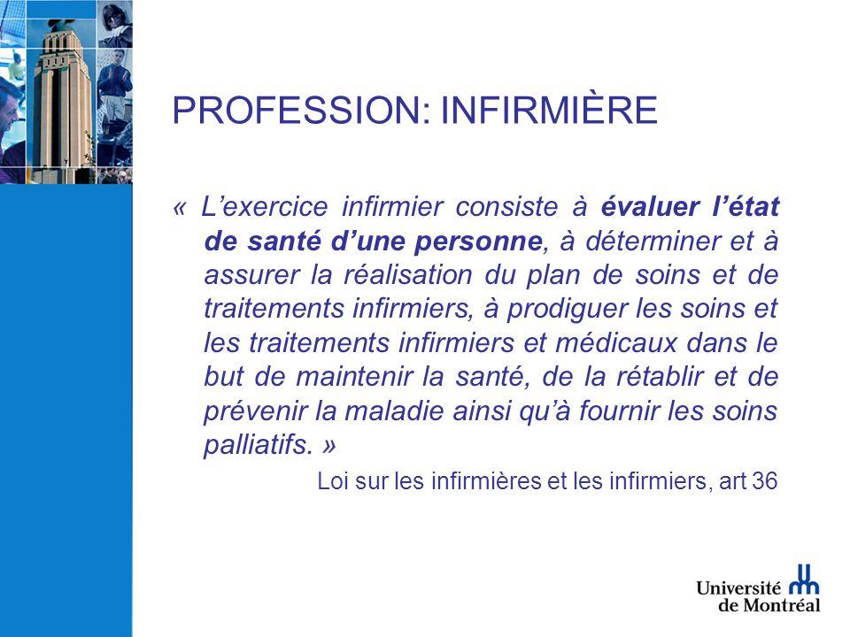 PROFESSION: INFIRMIÈRE « L'exercice infirmier consiste à évaluer l'état de santé d'une personne, à déterminer et à assurer la réalisation du plan de s