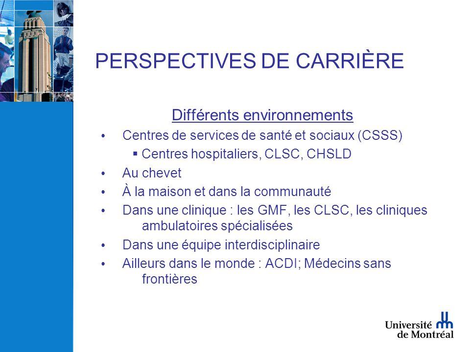 PERSPECTIVES DE CARRIÈRE Différents environnements • Centres de services de santé et sociaux (CSSS)  Centres hospitaliers, CLSC, CHSLD • Au chevet •