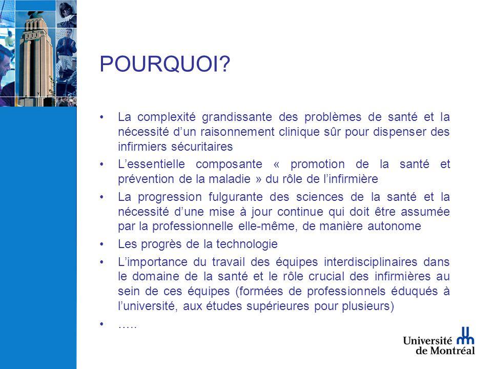 POURQUOI? •La complexité grandissante des problèmes de santé et la nécessité d'un raisonnement clinique sûr pour dispenser des infirmiers sécuritaires