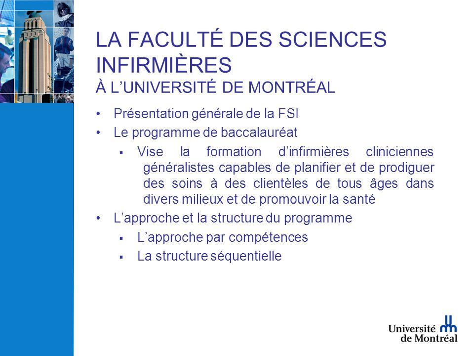 LA FACULTÉ DES SCIENCES INFIRMIÈRES À L'UNIVERSITÉ DE MONTRÉAL •Présentation générale de la FSI •Le programme de baccalauréat  Vise la formation d'in