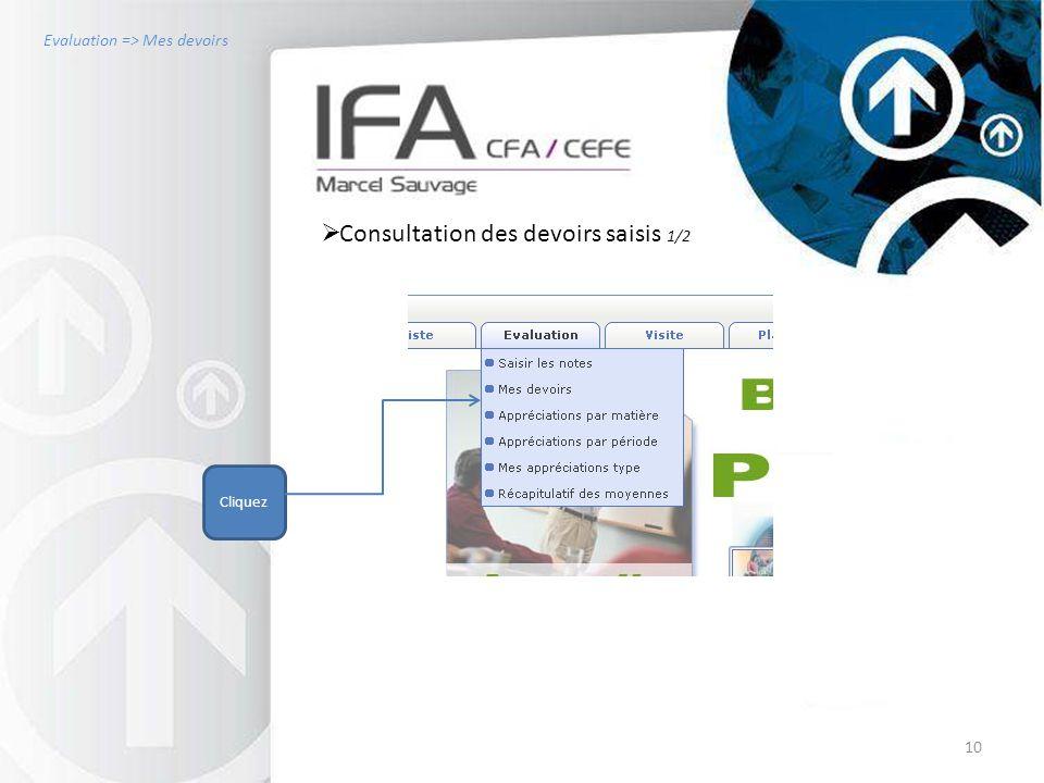 10  Consultation des devoirs saisis 1/2 Cliquez Evaluation => Mes devoirs