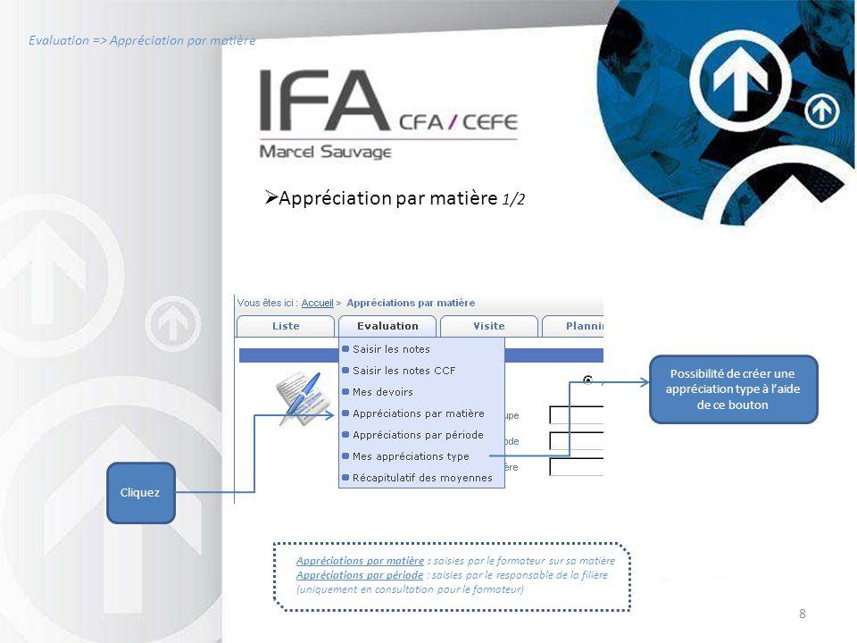8 Evaluation => Appréciation par matière  Appréciation par matière 1/2 Cliquez Appréciations par matière : saisies par le formateur sur sa matière Ap
