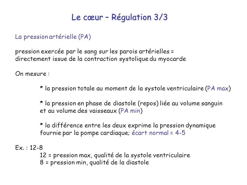 Le cœur – Régulation 3/3 La pression artérielle (PA) pression exercée par le sang sur les parois artérielles = directement issue de la contraction sys