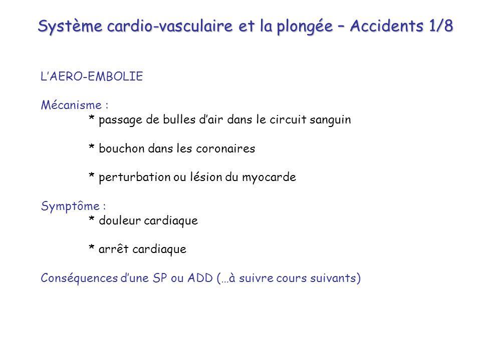 Système cardio-vasculaire et la plongée – Accidents 1/8 L'AERO-EMBOLIE Mécanisme : * passage de bulles d'air dans le circuit sanguin * bouchon dans le