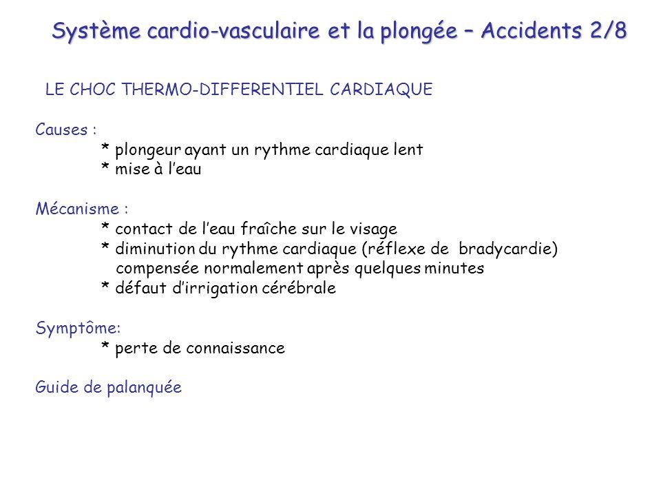 Système cardio-vasculaire et la plongée – Accidents 2/8 LE CHOC THERMO-DIFFERENTIEL CARDIAQUE Causes : * plongeur ayant un rythme cardiaque lent * mis