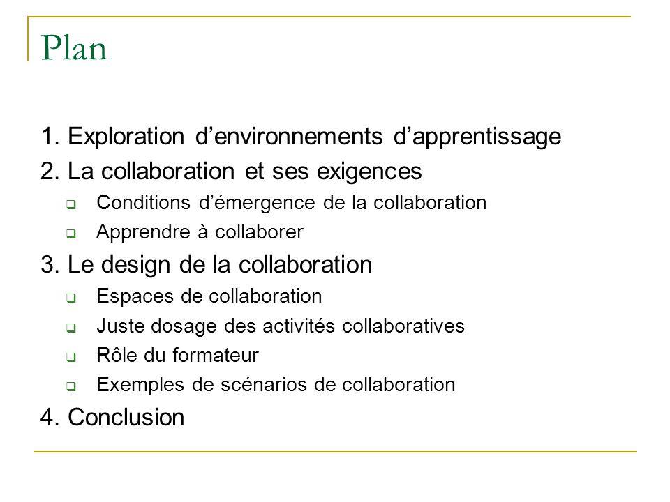 Plan 1. Exploration d'environnements d'apprentissage 2.