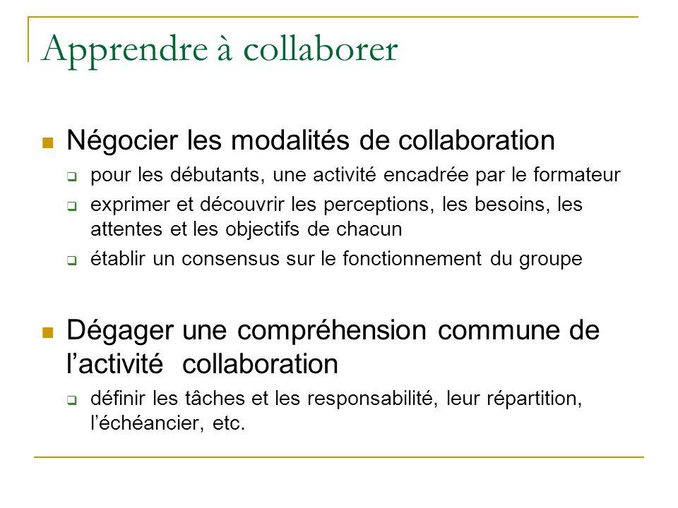 Apprendre à collaborer  Négocier les modalités de collaboration  pour les débutants, une activité encadrée par le formateur  exprimer et découvrir les perceptions, les besoins, les attentes et les objectifs de chacun  établir un consensus sur le fonctionnement du groupe  Dégager une compréhension commune de l'activité collaboration  définir les tâches et les responsabilité, leur répartition, l'échéancier, etc.