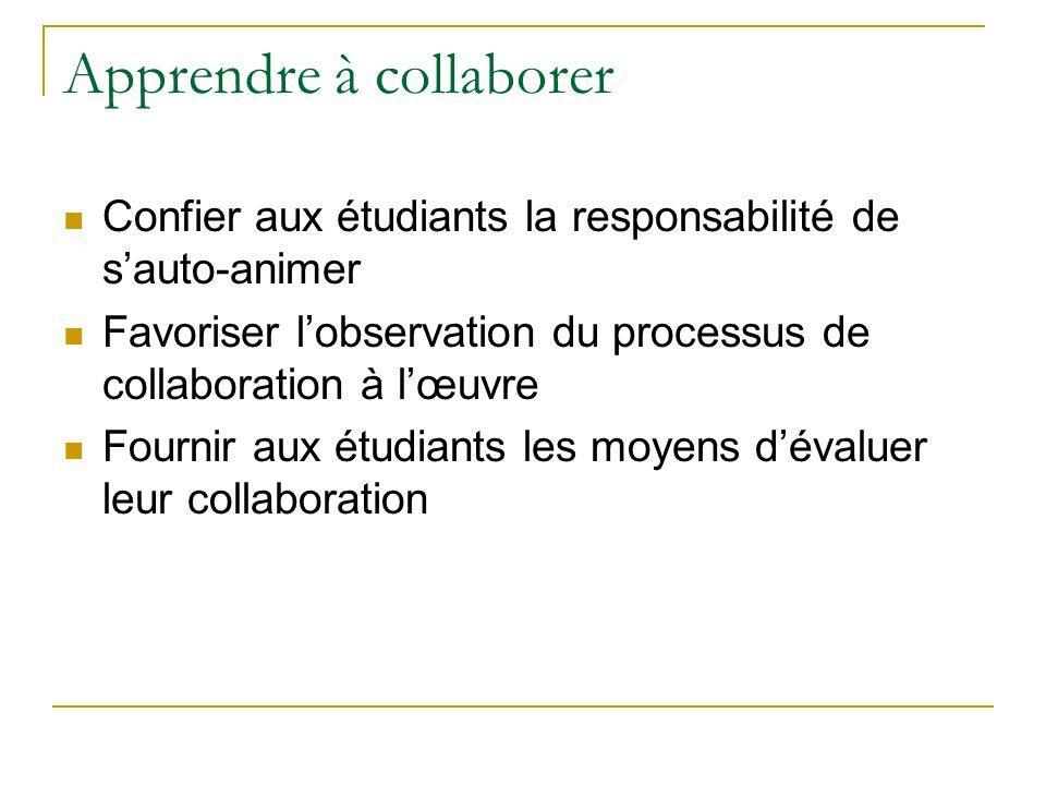 Apprendre à collaborer  Confier aux étudiants la responsabilité de s'auto-animer  Favoriser l'observation du processus de collaboration à l'œuvre  Fournir aux étudiants les moyens d'évaluer leur collaboration