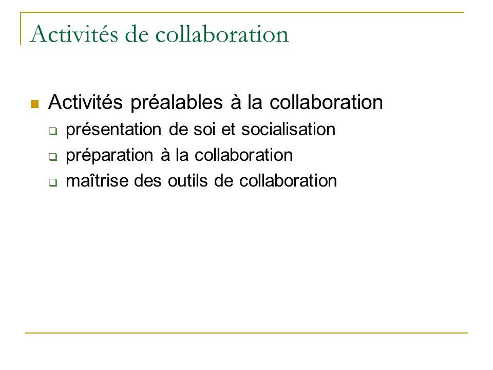 Activités de collaboration  Activités préalables à la collaboration  présentation de soi et socialisation  préparation à la collaboration  maîtrise des outils de collaboration
