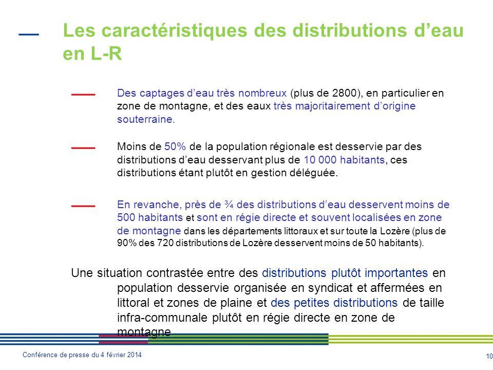 10 Conférence de presse du 4 février 2014 Les caractéristiques des distributions d'eau en L-R Des captages d'eau très nombreux (plus de 2800), en particulier en zone de montagne, et des eaux très majoritairement d'origine souterraine.