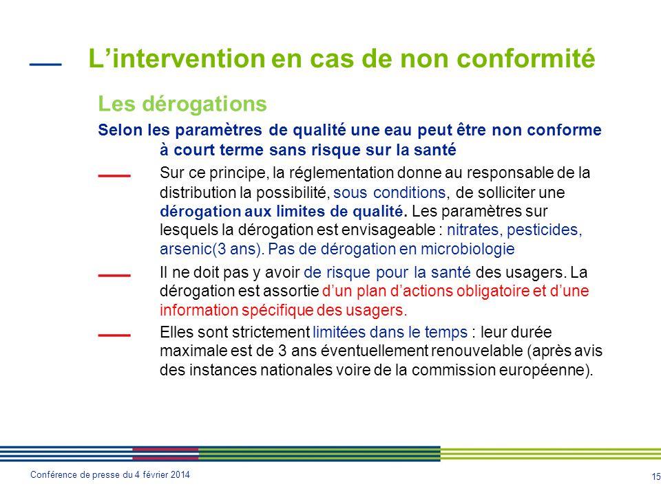 15 Conférence de presse du 4 février 2014 L'intervention en cas de non conformité Les dérogations Selon les paramètres de qualité une eau peut être no