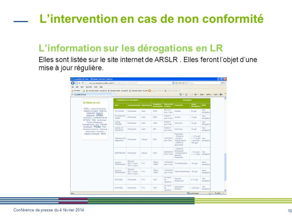 16 Conférence de presse du 4 février 2014 L'intervention en cas de non conformité L'information sur les dérogations en LR Elles sont listée sur le site internet de ARSLR.