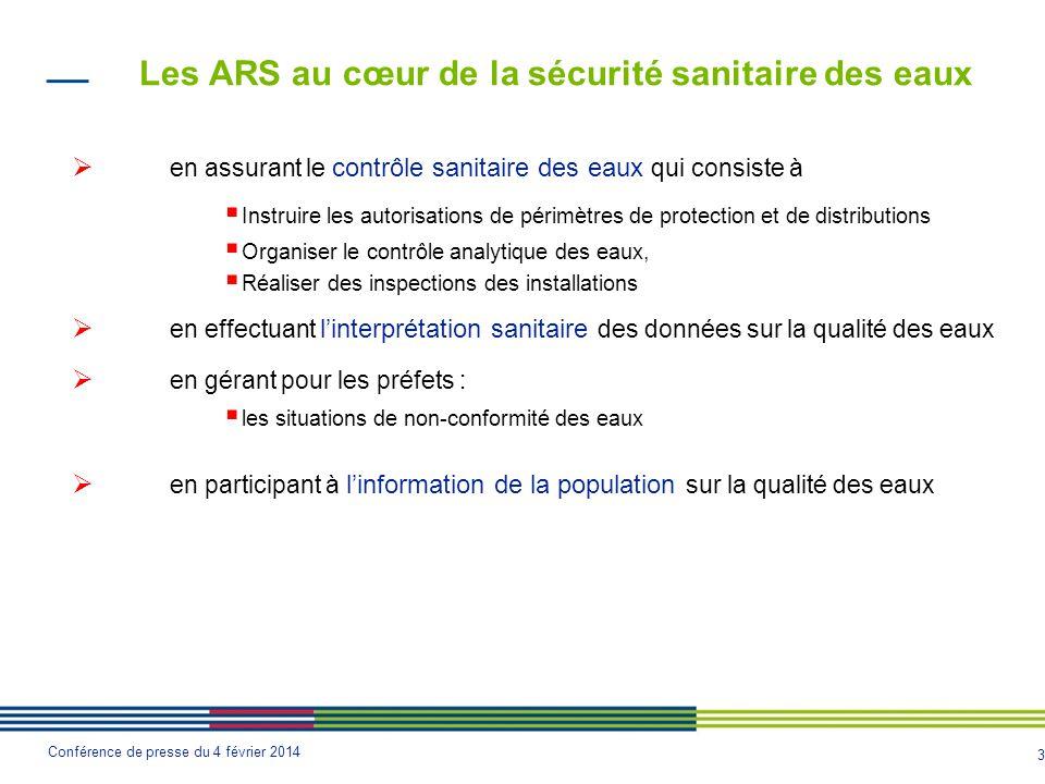 3 Conférence de presse du 4 février 2014 Les ARS au cœur de la sécurité sanitaire des eaux  en assurant le contrôle sanitaire des eaux qui consiste à