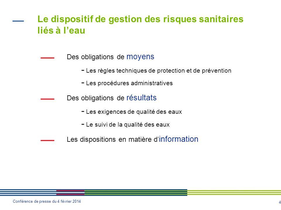4 Conférence de presse du 4 février 2014 Des obligations de moyens - Les règles techniques de protection et de prévention - Les procédures administrat