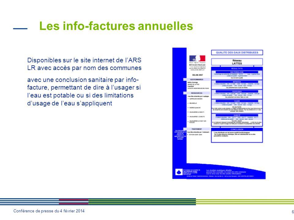 6 Conférence de presse du 4 février 2014 Les info-factures annuelles Disponibles sur le site internet de l'ARS LR avec accès par nom des communes avec