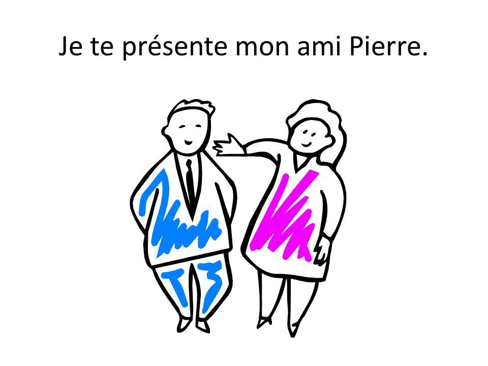 Je te présente mon ami Pierre.