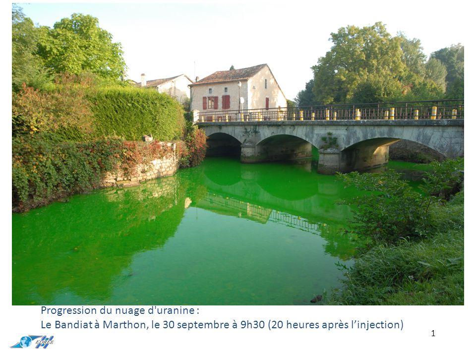 1 Progression du nuage d uranine : Le Bandiat à Marthon, le 30 septembre à 9h30 (20 heures après l'injection)