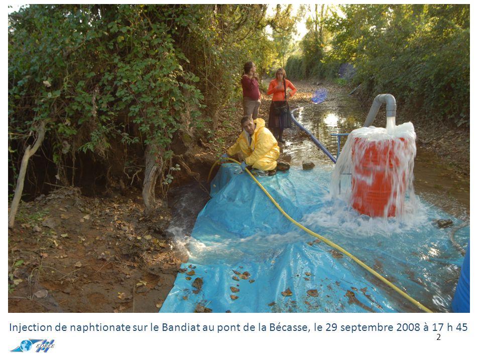 3 Injection de jaune duasyn sur la Tardoire à Monbron (base de canoë, à l'amont des zones de pertes), le 30 septembre 2008 à 10 h 00