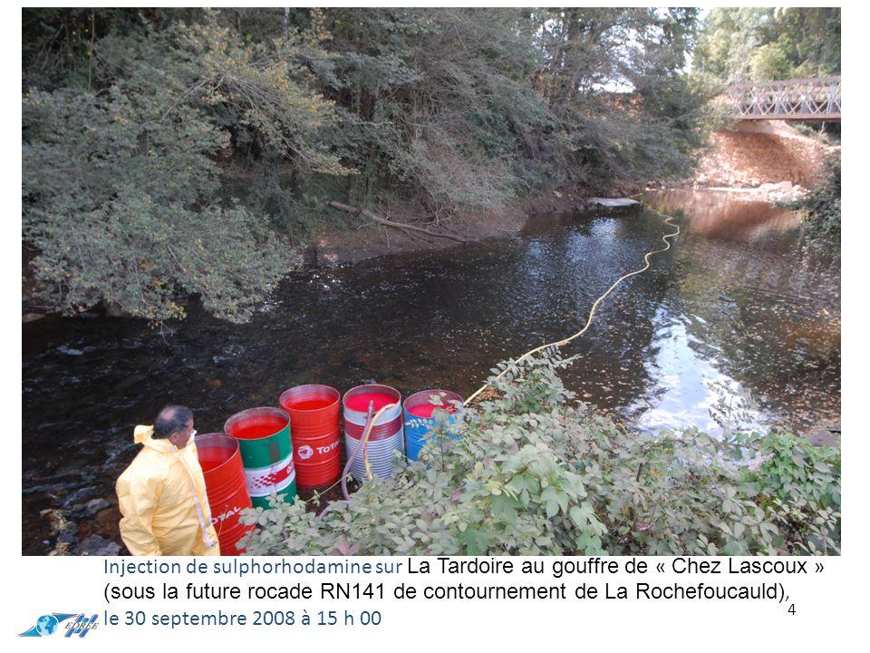 4 Injection de sulphorhodamine sur La Tardoire au gouffre de « Chez Lascoux » (sous la future rocade RN141 de contournement de La Rochefoucauld), le 30 septembre 2008 à 15 h 00